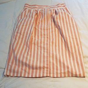 Vintage 80's Pink Striped Nautical Skirt Pockets!